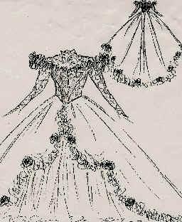 Skizze Brautkleid.