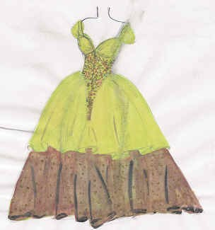Skizze grün/braunes Abendkleid.